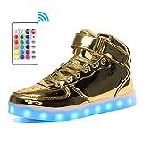 Voovix Kinder High-top LED Licht Blinkt Sneaker mit Fernbedienung-USB Aufladen Led Schuhe für Jungen und Mädchen (Gold, EU38/CN38)
