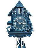 Kult AG Pappuhr XL - Kuckucksuhr modern aus Pappe mit 2 natürlichen Tönen (abschaltbar, batteriebetrieben) Vintage Wand Deko für die Wohnung ★Made in Germany★