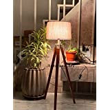 Antiques Art Wood Tripod Standing Floor Lamp , Brown