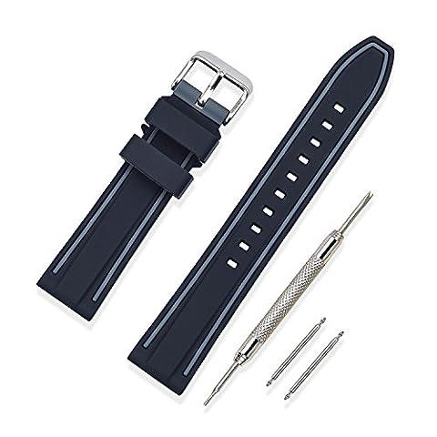 Vinband Bracelet Montre Haute Qualité Remplacer Silicone Bracelet Montre Bicouche Bicolore - 20mm, 22mm, 24mm Caoutchouc Montre Bracelet avec Acier Inoxydable Boucle (22mm, Gris)