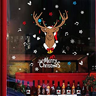 Aulola Weihnachten Wand Fenster Aufkleber, REG;-Fenster klammert Sich an Aufkleber Weihnachtsschmuck Kit für Shop Home Gläser Style B