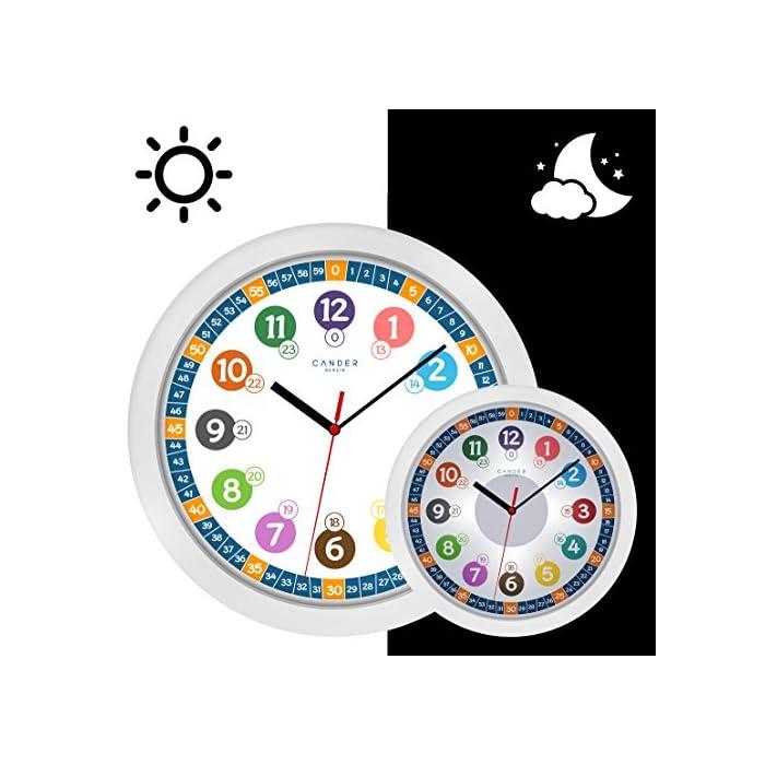 Cander Berlin MNU 5130 Kinderwanduhr (Ø) 30,5 cm Kinder Wanduhr mit lautlosem Uhrwerk und 5-Stufen…