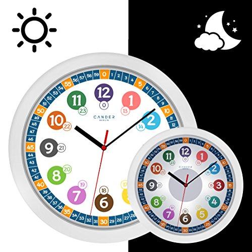 cander Berlin MNU 5130enfants Horloge murale (Ø) 30,5cm enfants Silencieux Horloge murale avec horloge et 5niveaux de cadran Éclairage (à intensité variable) apprendre–lire l'heure