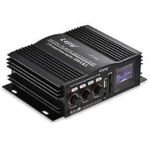 ONEU 2 Canales Amplificador, Dual-Aux 3,5 mm Entrada Amplificador Audio Estéreo Hi-Fi, FM Radio LCD Pantalla Amp Amplificador Sonido Digital Con USB/SD/MMC Lector