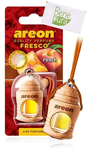 AREON auto deodorante profumo fresco 4ml-Peach Scent-appeso bottiglia diffusore con copertura in legno naturale, a lunga durat