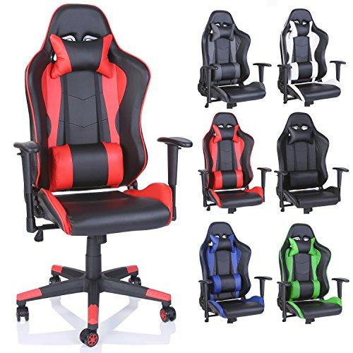 TRESKO Racing Drehstuhl Bürostuhl Sportsitz Chefsessel Gaming Stuhl 6 Farbvarianten, Wippmechanik, stufenlos verstellbare Rückenlehne (Rot)