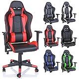 TRESKO® Chaise Fauteuil siège de bureau racing sport ergonomique, dossier réglable en continu, de 6 couleurs différentes (noir/rouge)