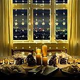 LED Sternenvorhang Lichterkette, CREASHINE 80 Sterne mit 144 LEDs 8 Modi, Fernbedienung mit Timer, für Innen Lichtervorhang Weihnachtsdekoration Fensterdekoration Garten Zimmer