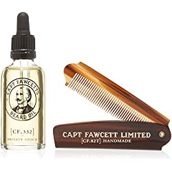 Captain Fawcett Aceite Para Barba & Plegable Bolsillo Barba Peine Set Regalo