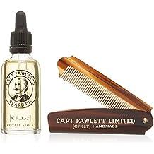 050432e95 Captain Fawcett Aceite Para Barba & Plegable Bolsillo Barba Peine Set Regalo