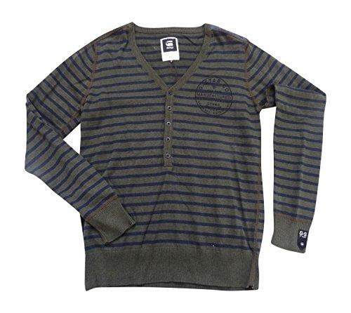 G-Star -  Felpa  - Uomo dark olive HTR armour strip knit Large