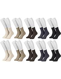Piarini® - 10 pares de calcetines para mujer - Sin elástico - 100 % algodón - Negro / Blanco / Multicolor