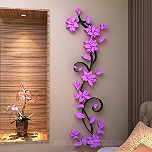 3D three-dimensional crystal Mirror wall stickers TV backdrop decoration modern decorative flowers living room sofa (S Size Width 30cm height100cm, Purple Right)