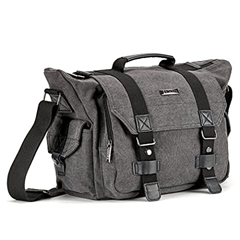Evecase Premium Large Canvas Messenger DSLR Digital Camera Travel Bag w / Rain Cover, Tablet / Laptop Compartment, Removal Padded Insert and Shoulder Strap -
