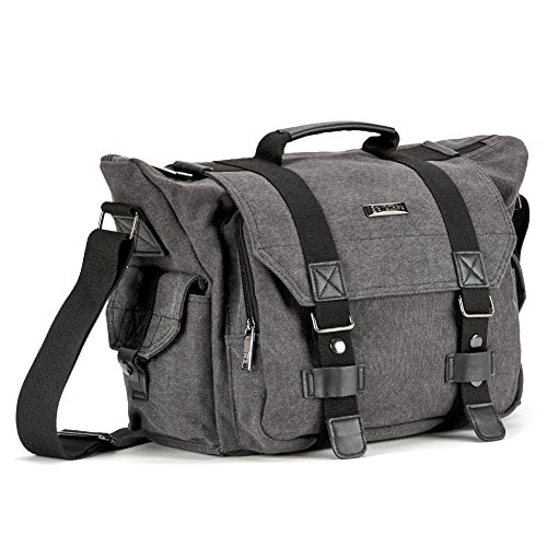 DSLR Kameratasche mit Laptopfach, Evecase Extragroße SLR Schultertasche Canvas Kuriertasche für Digital-Spiegelreflex mit Laptopfach, Zubehörfächer, Regenhülle - Grau -