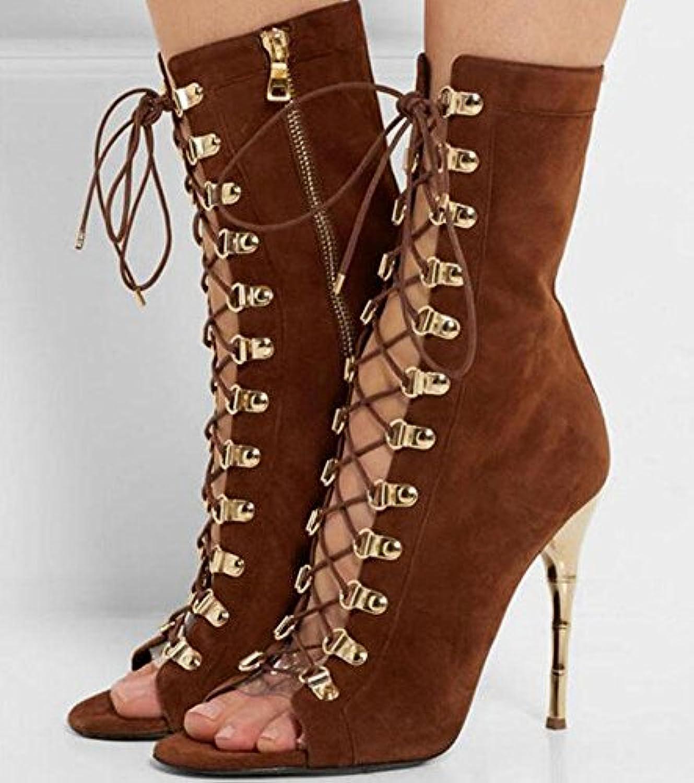 MUJER Peep Toe Sandalias Botas de cuero de oveja con cordones Zapatos con encaje Martin Boot verano 40 41 42 43...