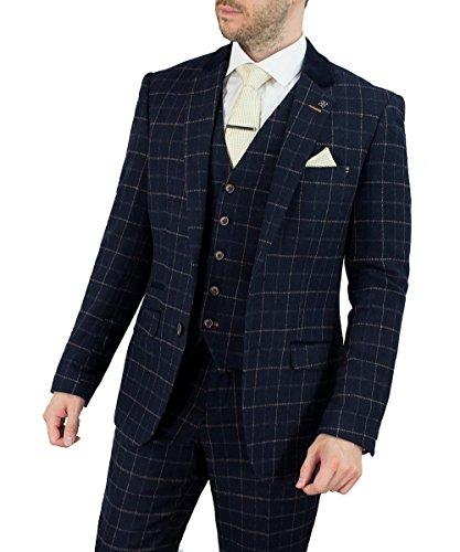 54r-anzug (Cavani Men Shelby 3 Piece Suit, Navy (EU 60R Brustumfang/EU 54R Bundumfang))