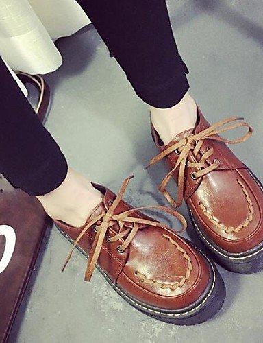 ZQ hug Scarpe Donna-Sneakers alla moda-Tempo libero / Casual-Comoda / Punta arrotondata-Quadrato-Finta pelle-Nero / Marrone , brown-us8 / eu39 / uk6 / cn39 , brown-us8 / eu39 / uk6 / cn39 brown-us6 / eu36 / uk4 / cn36