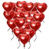 20 Stück 18 Zoll Rot Herzballons (inkl. 2 set Lametta / Rot + Silbrig / ca. 1m pro stk) Folienballons Luftballons Herzform Heliumballons Herzluftballons für Geburtstag Valentinstag Hochzeit Verlobung (Rot, 20 Stück, 18 Zoll)