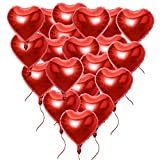 20 Stück 18 Zoll Rot Herzballons (inkl. 2 set Lametta / Rot + Silbrig / ca. 1m pro stk) Folienballons Luftballons Herzform Heliumballons Herzluftballons für Geburtstag Valentinstag Hochzeit Verlobung