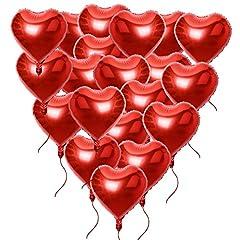 Idea Regalo - 20 pz 46*53cm Palloncini di Cuore Rosso con Corde Decorazione Festa San Valentino Matrimonio Fidanzamento Battesimo Compleanno