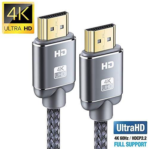 Cable HDMI 4K 0.9m-Snowkids Cable HDMI2.0 de Ultra Alta Velocidad 18Gbps Cable Trenzado de Nylon 4K a 60Hz para Fire TV, 3D,Función Ethernet, Video 4K UHD 2160p, HD 1080p-Xbox 360 PS4 - Gris