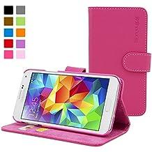Funda Galaxy S5, Snugg™ - Carcasa Rosa De Cuero (PU) Con Tapa Y Garantía De Por Vida Para Samsung Galaxy S5