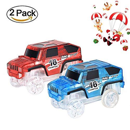 Spur Led Licht Auto Im Dunkeln Leuchten Zubehör Kompatibel mit den Meisten Auto Rennen Magic Tracks,Ideal Für Childs Geschenke (Lego Polizei-halloween-kostüm)