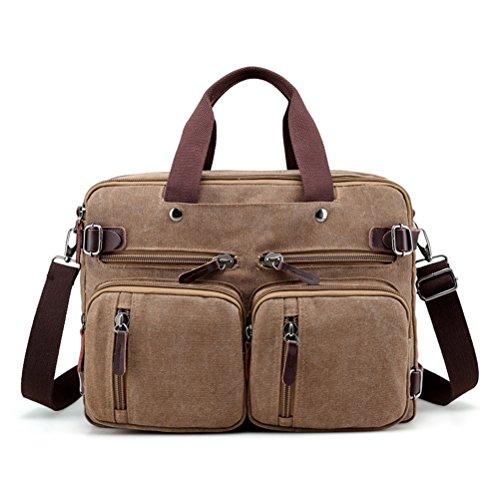 Leinwand Attache (Männer Leinwand Business Schulter Crossbody Taschen Männer Messenger Bags Handtasche Tasche Multifunktions Rucksack Laptop Aktenkoffer)