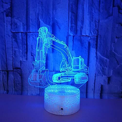 ZNDDB Bagger 3D nachtlicht 7 Farben + Fernbedienung + Touch LED leuchtet Mit USB-Kabel Geeignet für Freizeit- und Unterhaltungsmöglichkeiten im Heimhotel