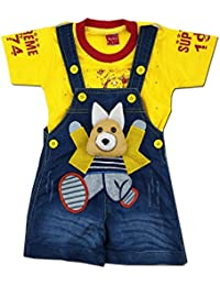 Kiddie Clap Denim Dungree Set with Half Sleeves Printed T-Shirt for Baby Boys(Yellow)