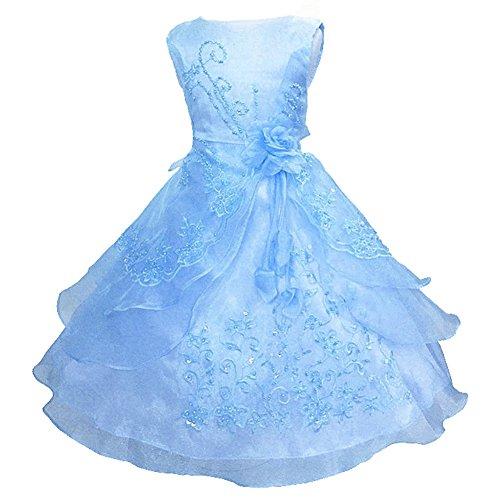 Eagsouni® Kinder Mädchen Prinzessin Kleid Blumenmädchen Stickerei Kleider Festlich Hochzeit Brautjungfern Kleidung 104 110 128 140 152 164 (Kleid Blau Blumenmädchen)