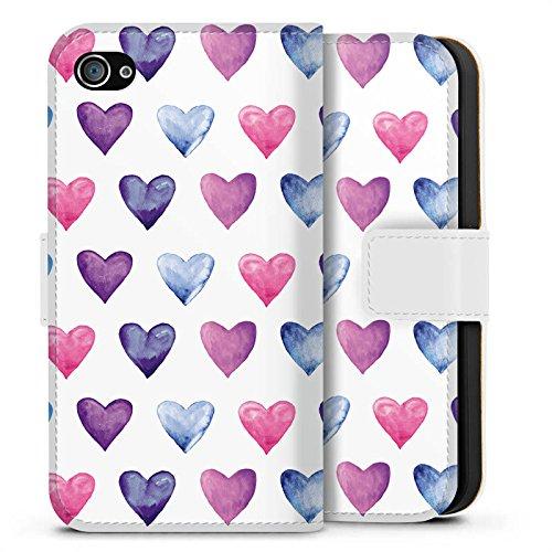 Apple iPhone X Silikon Hülle Case Schutzhülle Herz Muster Pink Sideflip Tasche weiß