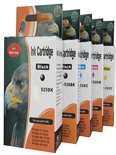 Preisvergleich Produktbild 5 Druckerpatronen mit Chip für Canon Pixma, ersetzt PGI-525BK CLI-526BK CLI-526C CLI-526M CLI-526Y