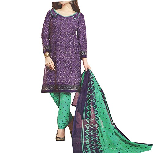 Nashira Women'S Cotton Unstitched Purple and Sea Green Combination Casual Daily Wear...