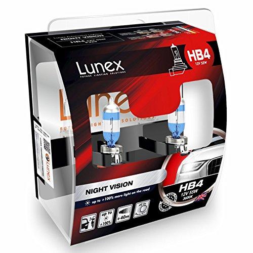 LUNEX HB4 9006 NIGHT VISION Scheinwerfer Halogenbirnen Lampen + 100% mehr Licht 12V 55W P22d 3600K duobox (2 Stücke) (9006 Extreme Vision)