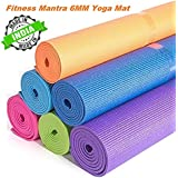 Fitness Mantra High Density Yoga Mat for Yoga Exercise and Gym Workout. 6mm Yoga Mat for Men & Women Fitness [Multicolor][1 Pcs.][6mm]