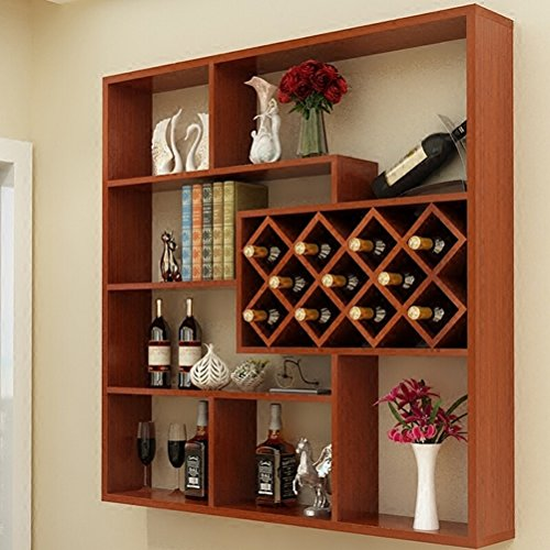 Wine Rack - Weinregal Wand Holz Weinschrank Wandbehang Grid Home Rhombic Weinregal Becher Regal Teak...