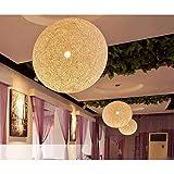 Boule tréssée lampe suspension Lustre Beige Plafond Vintage Décoration pour Chambre Restaurant Couloir Diamètre 25cm