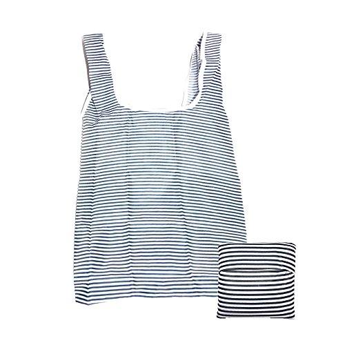 Klome Einkaufstasche Wiederverwendbare kleine Tasche 210D Oxfold Faltbare Tasche mit Schützhülle für Buch, Lebensmittels, Obst und Gemüse 55cm*35cm Große Sterne Schwarzblau Streifen