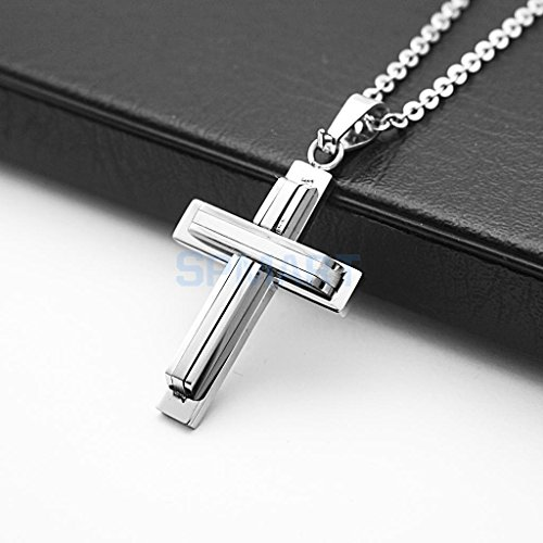 ELECTROPRIME Mens Womens Stainless Steel Cross Pendant Prayer Necklace Gift #C