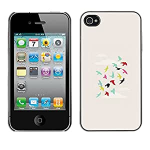 Omega Covers - Snap on Hard Back Case Cover Shell FOR Apple iPhone 4 / 4S - Sky Flying Minimalist Art Metaphor