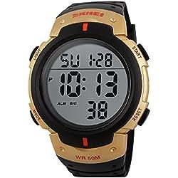 Men's Sport Watch,Multifunctional Military Waterproof Simple Design Big Numbers Digital LCD Screen Casual Watch