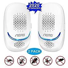 [2020 NEW] Aerb Repellente ad Ultrasuoni, 10W Antizanzare Ultrasuoni Portatile ad innesto, 100% Sicuro per Persone e Animali, per Topi, Pulci, Zanzare, Roditori, Scarafaggi, Formiche, Ragni, 2 Pezzi