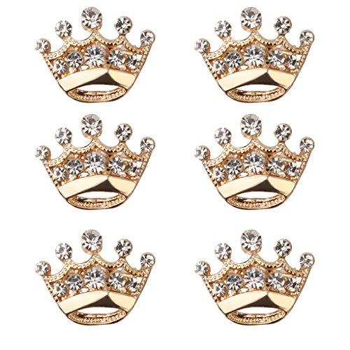 12pcs Diamante Brosche Hochzeit Party Festzug Tiara Krone Anstecknadeln - Gold
