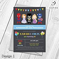 Personalised Princess and Superhero Kids Birthday Party Invitations | Joint/Single Printed Invites