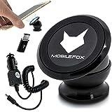 mobilefox®® 2in1 Set 360° Auto KFZ Handy Halterung Magnet Kugelkopf Halter + Typ-C Ladekabel für Samsung Galaxy S9 S8 Plus