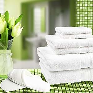 Serviettes de bain de luxe Majestic Linens Hotel Quality Drap de lit Blanc