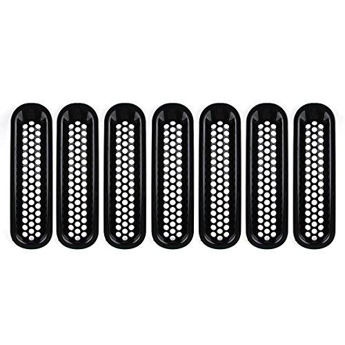 Auto Front Mesh Grill fügt Gitter, für WRANGLER JK 2007-2015Unlimited Sport Rubicon Sahara, 7Stück, Schwarz