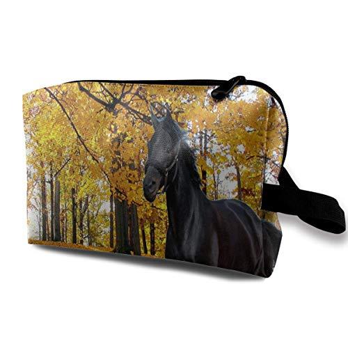 TRFashion Borsa cosmetica da viaggio Makeup Bag Horse Running In Autumn Portable Travel Multifunction Beauty Bags Marvellous Case For Girls